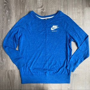 NWOT NIKE Long Sleeve Tee Pull-over Heather Blue L